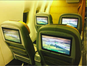 La nuova Premium Economy sul Boeing 777-200. Foto Instagram @benebarbieri