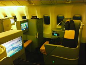 La nuova Business Class del Boeing 777-200. Foto Instagram @benebarbieri