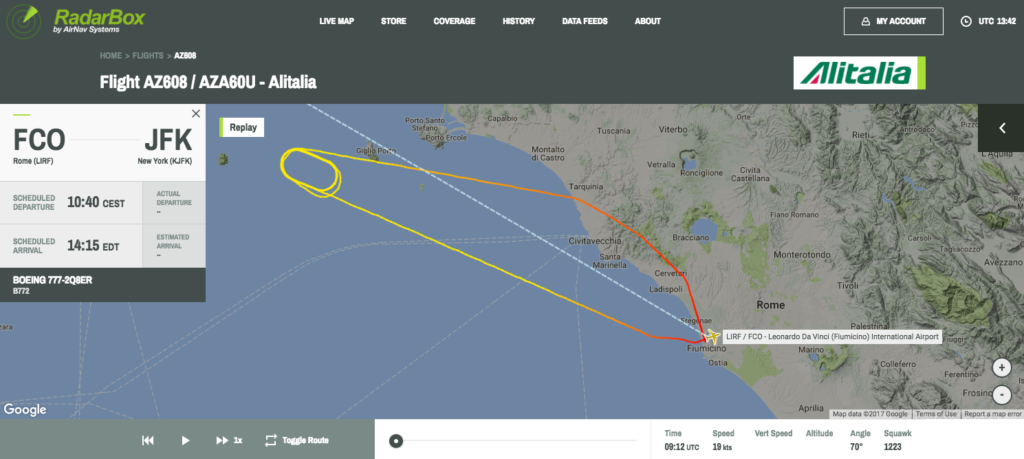Screenshot della rotta di EI-FNI. Fonte: Radarbox