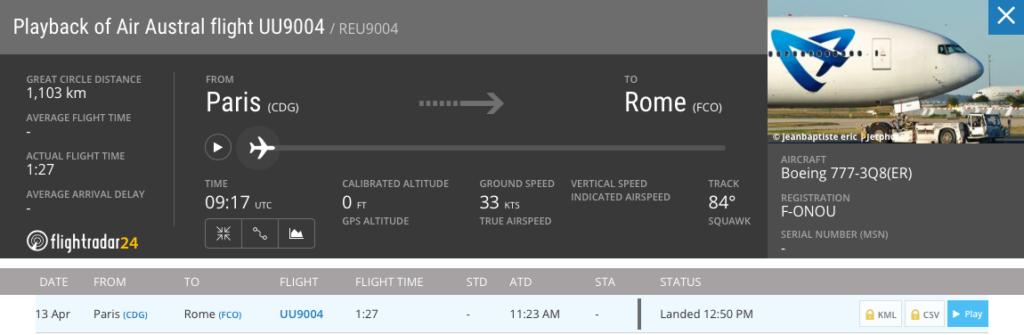 Volo UU9004 da Parigi a Roma. Credit: Flightradar24
